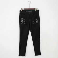 Mr. Cai - Zip-Detail Cropped Slim-Fit Jeans