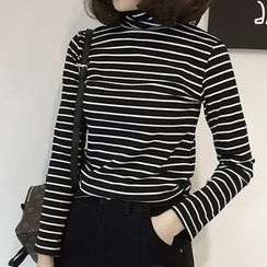 Little V - Long-Sleeve Striped High Neck T-Shirt