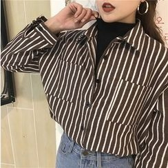 Bloombloom - Striped Mock Two-Piece Shirt