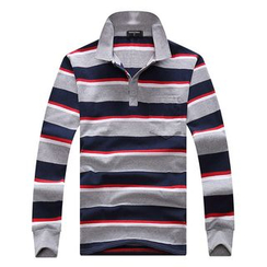 SENTA - 條紋長袖馬球襯衫