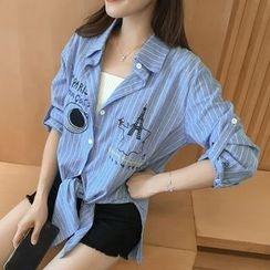 巧妮兒 - 刺繡細條紋長襯衫