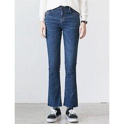FROMBEGINNING - Fleece-Lined Boot-Cut Jeans