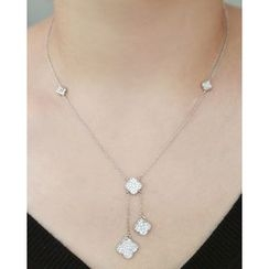 Miss21 Korea - Rhinestone-Clover Chain Lariat Necklace
