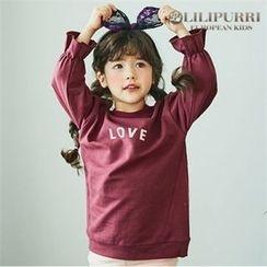 LILIPURRI - Girls Ruffle-Cuff Lettering Sweatshirt
