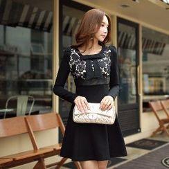 Dabuwawa - Long-Sleeve Lace-Panel Dress