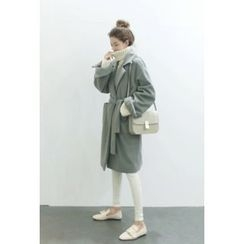 ATTYSTORY - Brushed-Fleece Long Coat with Sash