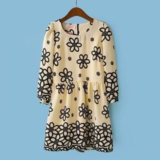Flower Idea - 3/4-Sleeve Flower-Print Dress