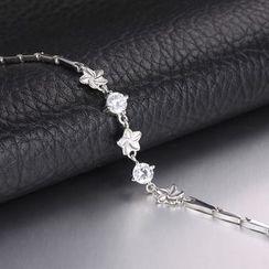 Zundiao - Sterling Silver Rhinestone Flower Bracelet