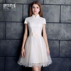 靜世奇緣 - 蓋袖中式領禮服裙