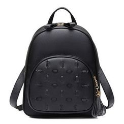 BeiBaoBao - Faux-Leather Tasseled Backpack