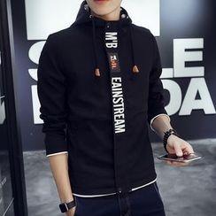 Dubel - Lettering Printed Hooded Zip Jacket