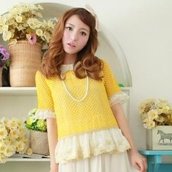 Angel Love - Set: Open-Knit Top + Sleeveless Peplum Top
