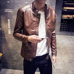 LC Homme - Faux-Leather Stand-Collar Zip Jacket