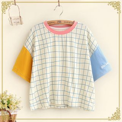 Fairyland - Color-Panel Check T-Shirt