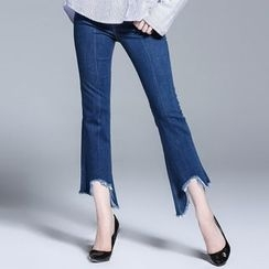 Seagrass - Cropped Boot-Cut Slim-Fit Jeans