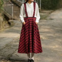 Mellow Fellow - Plaid Midi Jumper Skirt