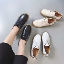 Charming Kicks - Faux Leather Lace-Up Shoes