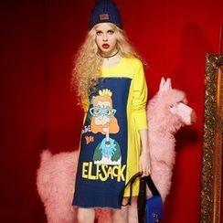 ELF SACK - Long-Sleeve Denim-Panel Printed Dress