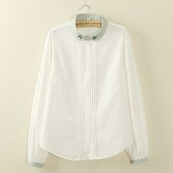 Tangi - 刺绣撞色衬衫