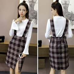 CHIH - Plaid Double Breasted Suspender Skirt