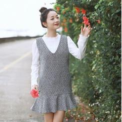 sansweet - Tweed Pinafore Dress
