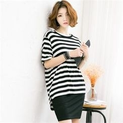 GLAM12 - Set: Round-Neck Stripe T-Shirt + Drawstring-Waist Skirt