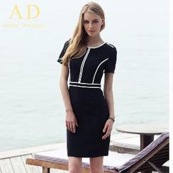 Aision - Short-Sleeve Sheath Dress