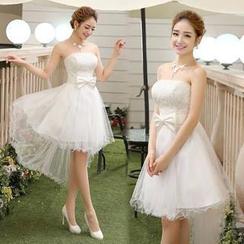 Bridal Workshop - 抹胸饰蝴蝶结高低摆礼服裙