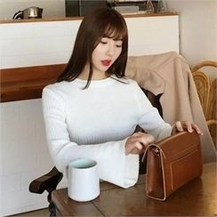 QNIGIRLS - Round-Neck Rib-Knit Top