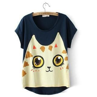 JVL - Short-Sleeve Cat-Print Panel T-Shirt