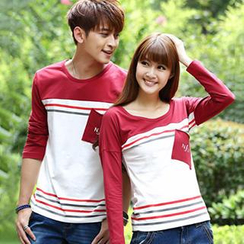 Igsoo - Couple Color Block Striped T-Shirt