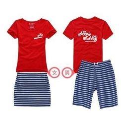 Love Affairs - Couple Set: Lettering T-Shirt + Striped Skirt / Shorts