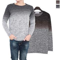Seoul Homme - Round-Neck Gradient Sweater