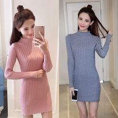 OGAWA - Plain Long Sleeve Knit Dress