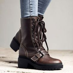 MIAOLV - Block Heel Lace-Up Short Boots