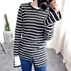 Tulander - Striped Asymmetric Hem Long Sleeve T-Shirt
