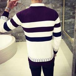 Breeson - Striped Mock Two-Piece Sweater