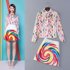 KONAK - Set: Color Block Long-Sleeve Blouse + Print A-Line Skirt