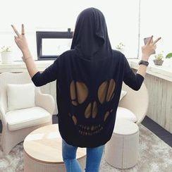 REDOPIN - Hooded Skull Print Jacket