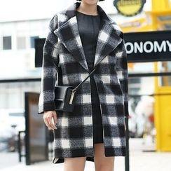 Ultra Modern - Plaid Woolen Coat