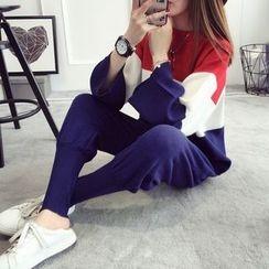 TIMI - 套装: 条纹毛衣 + 纯色慢跑裤