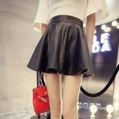 Champi - Faux Leather Ruffle Skirt