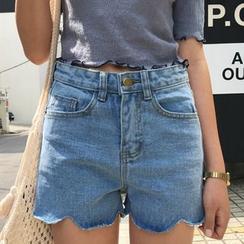 PUFII - High-Waist Scalloped Denim Shorts