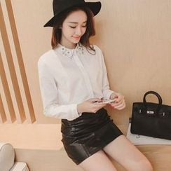 EFO - Long-Sleeve Embellished-Collar Blouse