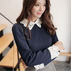 CHICLINE - Contrasted Lace-Trim Blouse