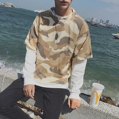 Soulcity - Mock Two-piece Camouflage Sweatshirt