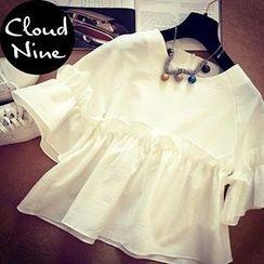 Cloud Nine - Oversized Frill Sleeve Chiffon Top