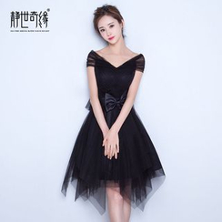 Fantasy Bride - Bow Cap-Sleeve Mini Prom Dress