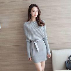 Ashlee - Long-Sleeve Mock Two Piece Knit Dress