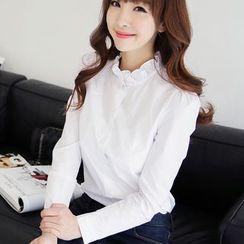 Bornite - Frill Collar Long-Sleeve Shirt